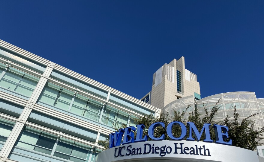 A welcome sign greets visitors and patients at UC San Diego Health medical facility in Hillcrest, Jan. 10, 2020.