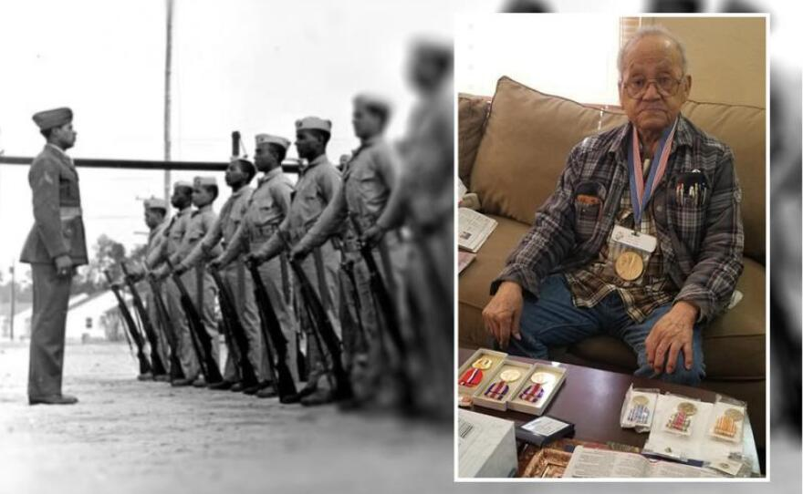 An undated photo collage shows 95-year-old World War II veteran Luther Hendricks posing with some of his military honors. He was a member of the Montford Point Marines, a group of African-American troops who trained at a segregated camp in North Carolina.