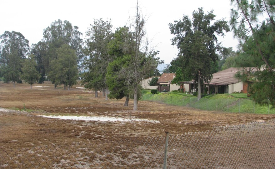 The Escondido Country Club golf course, which turned brown after the owner, Stuck In The Rough LLC, said in 2012 it was no longer profitable and stopped watering the greens, August 2014.