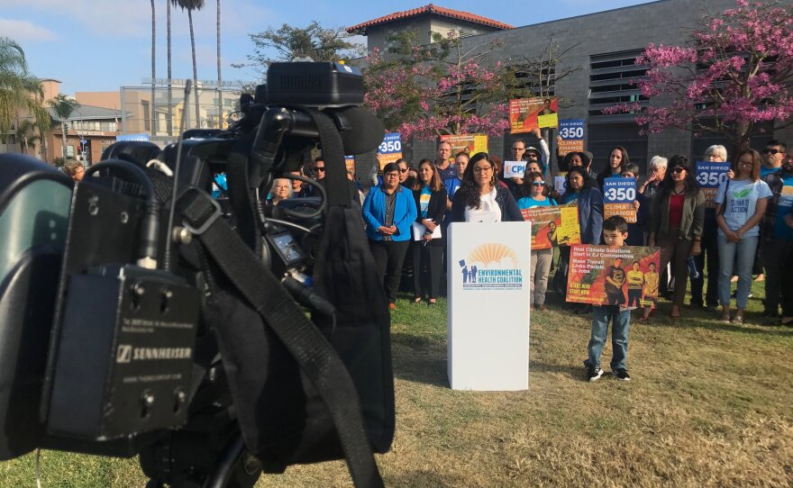 Activists push city officials to show how much they are spending in San Diego's poor communities as city officials implement their climate action plan on Oct. 22, 2018.