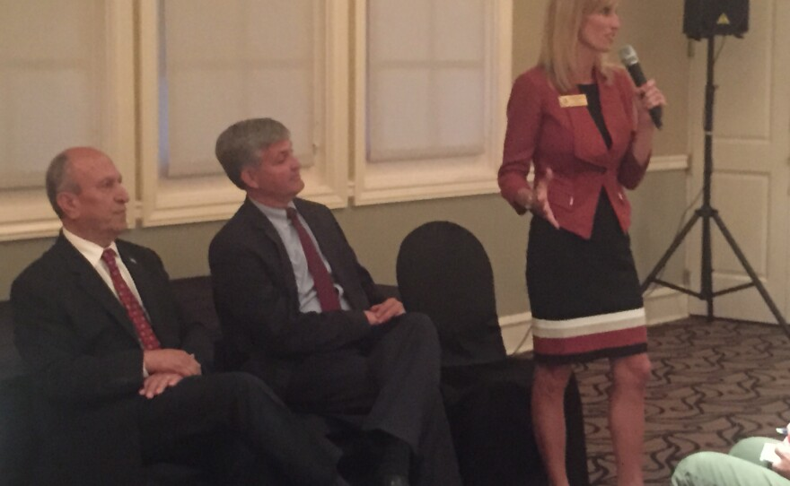 Escondido Mayor Sam Abed, left, San Diego County Supervisor Dave Roberts and Encinitas Mayor Kristin Gaspar at a candidates' forum for the Board of Supervisors District 3 seat, April 21, 2016.