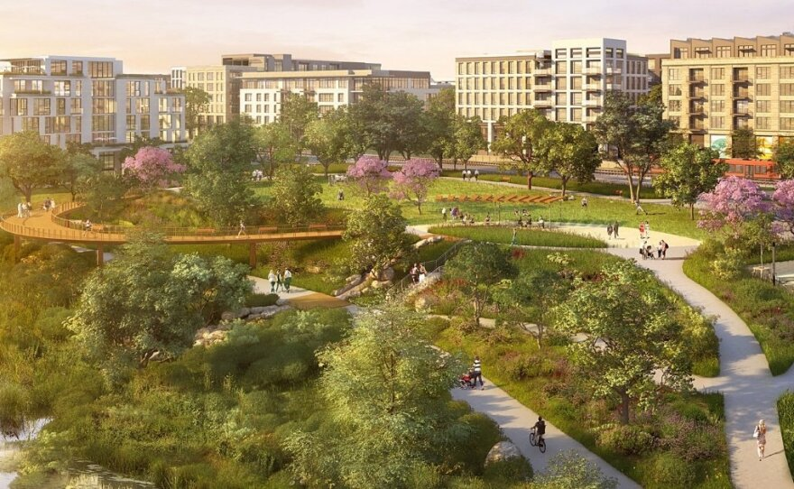 An undated rendering of the Riverwalk San Diego project.