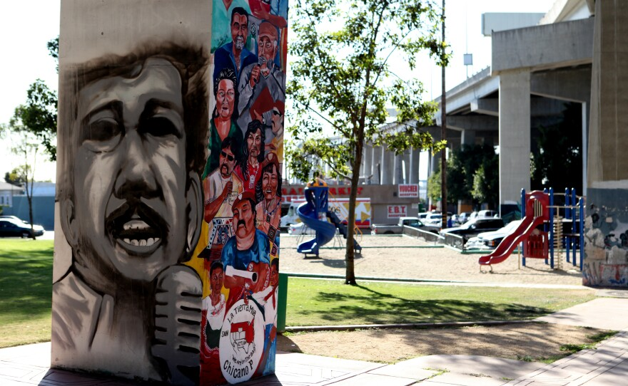 A Chicano Park mural underneath the Coronado Bridge in Barrio Logan.