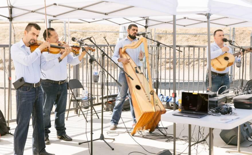 Los Originarios del Plan perform at the Madera Flea Market on June 13, 2021.
