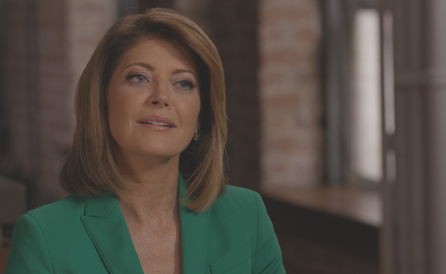 Journalist Norah O'Donnell while taping FINDING YOUR ROOTS.