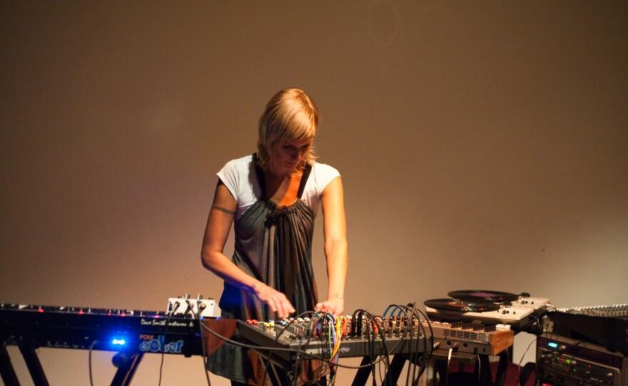 Experimental sound artist Margaret Noble at work.