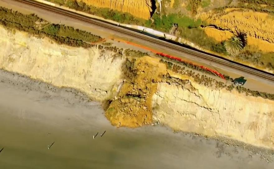 A bluff collapse in Del Mar near the train tracks, Feb. 28, 2021.