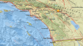 A map shows the epicenter of an earthquake in Riverside County, May 8, 2018.