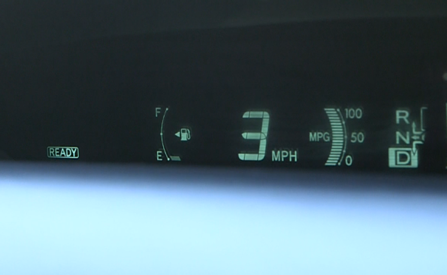A fuel gauge drops to empty, despite the car having a full tank of gas, Oct. 22, 2015.